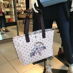 TOTE WITH FLORAL DITSY PRINT AND STAR LIGHT PINK